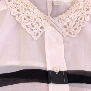 LC Lauren Conrad sheer button up front
